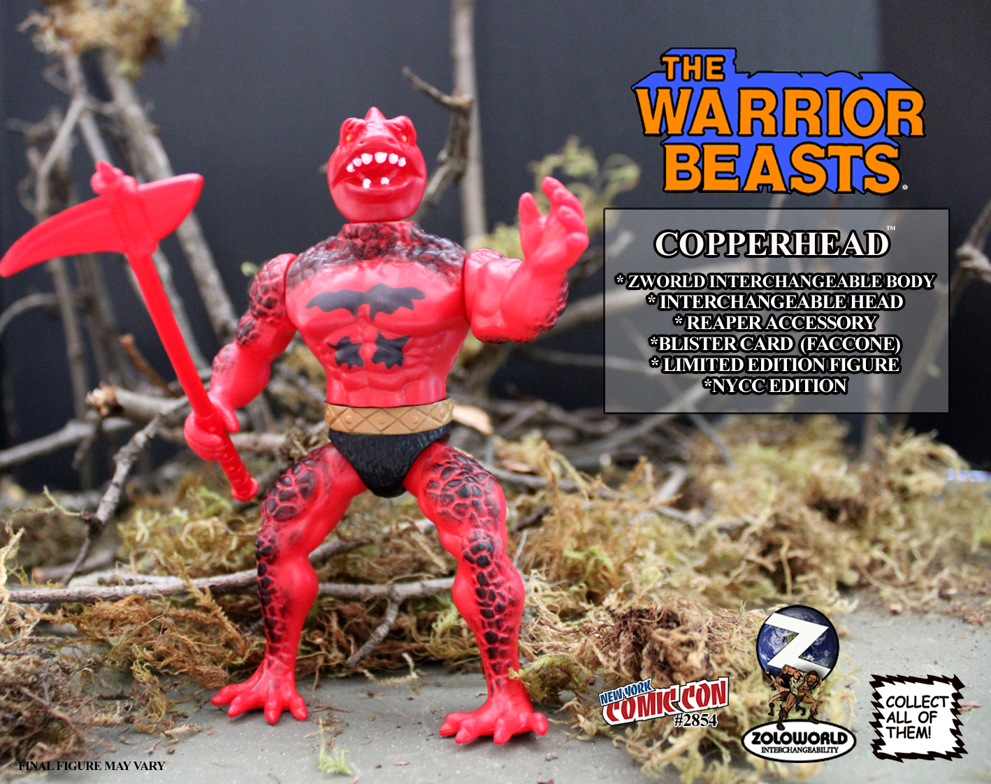 The Warrior Beasts COPPERHEAD MOC Action Figure NYCC ED