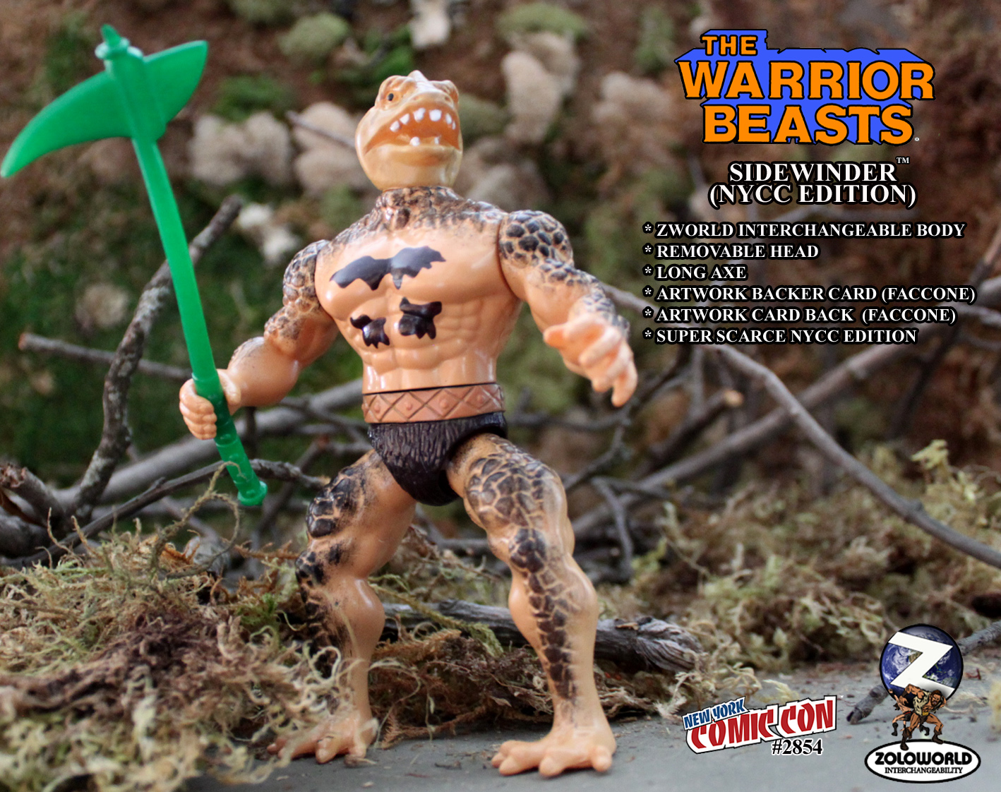 NYCC EXCLUSIVE WARRIOR BEASTS WAVE 2 Sidewinder Action Figure - Click Image to Close