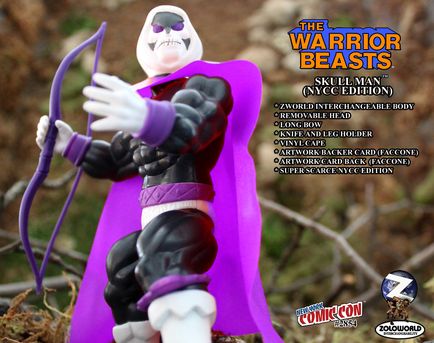 NYCC EXCLUSIVE WARRIOR BEASTS WAVE 2 SKULL MAN Action Figure